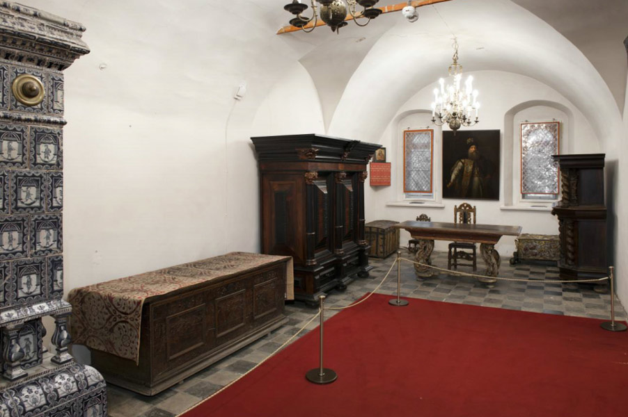 Living quarters interior with original furnishings of a wealthy Russian house of the 17th century