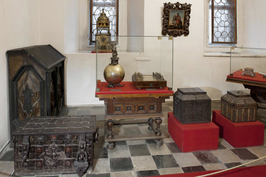 Interior of a study room with original items of a wealthy Russian house of the 17th century